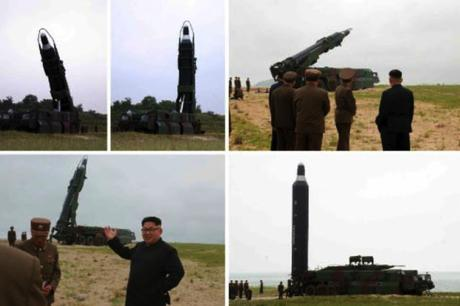 Photos from the bottom left of page one of the June 23, 2016 edition of WPK daily newspaper Rodong Sinmun depict Kim Jong Un in front of a TEL system used in the June 22 missile test and Jong Un interacting with senior WPK Munitions Industry Department and KPA Strategic Force personnel (Photos: Rodong Sinmun/KCNA).