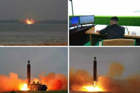 Photos from the bottom right of page one of the June 23, 2016 edition of the WPK daily newspaper Rodong Sinmun show the test of the Hwaso'ng 10 (Musudan) IRBM and Kim Jong Un watching the test from an observation post (Photos: Rodong Sinmun/KCNA).