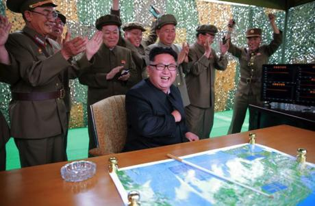 Kim Jong Un and senior Workers' Party of Korea and Korean People's Army personnel celebrate after the second test launch of the Hwaso'ng-10 (Photo: Rodong Sinmun).