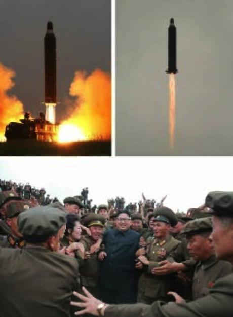 Photos from bottom right of page 2 of the WPK daily newspaper Rodong Sinmun show the Hwaso'ng-10 (Musudan) IRBM test and Kim Jong Un greeting personnel involved in the test (Photos: Rodong Sinmun/KCNA).