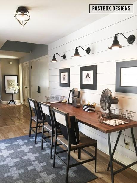 Farmhouse style Kid's Homework Area by Postbox Designs, $20 DIY rug tutorial, shiplap wall tutorial, no-sew curtain idea: