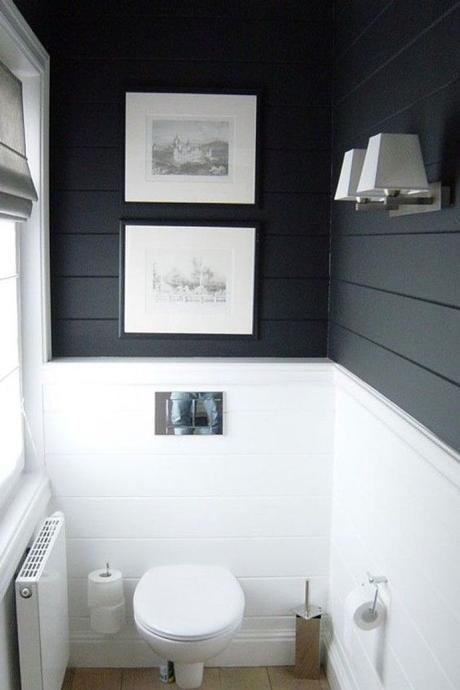 Not usually a fan of really dark walls, but this slate color works great with the stark white - also love the shiplap wall treatment::