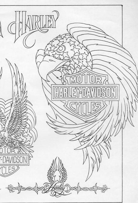 03a 697x1024 Harley Davidson Motorcycle Eagle Tattoo with Blueprint