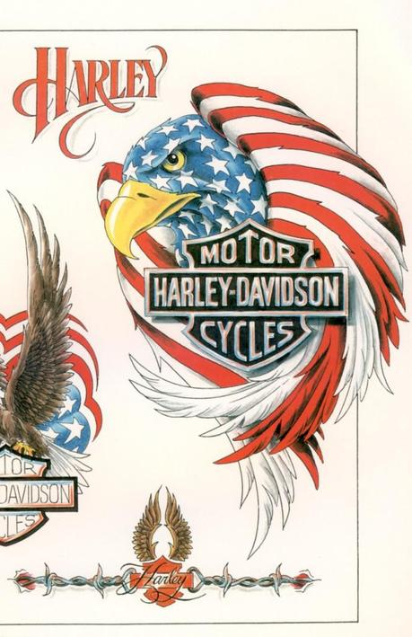 03 664x1024 Harley Davidson Motorcycle Eagle Tattoo with Blueprint