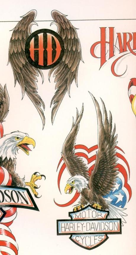 harley davidson eagle wings tattoos