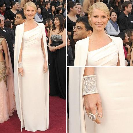 Gwyneth Paltrow diamond cuff, anna hu, gwyneth, jewelry, oscars, 2012, tom ford, oscar jewelry, cape
