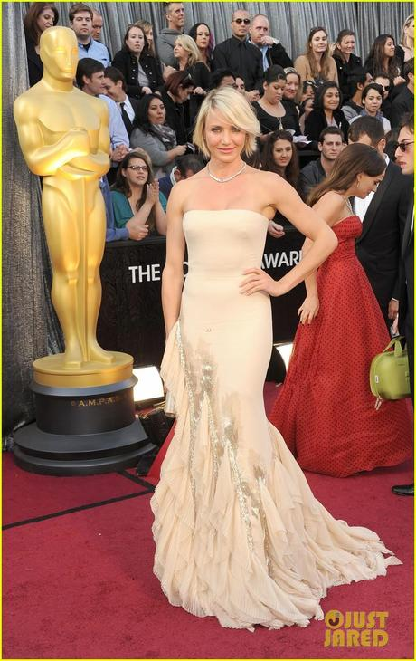 Cameron Diaz red carpet oscars 2012, 2012 oscars, cameron diaz, gucci, tiffany & co.