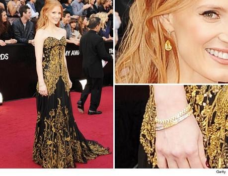 Jessica Chastain Oscar Jewelry, jessica chastain, harry winston, yellow diamonds