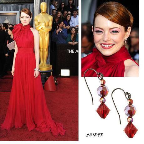 emma stone red drop earrings