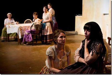 Susan Myburgh, Charlotte Mae Jusino, Erica Cruz Hernandez, Natalie Turner- Jones, Jackie Alamillo and Meghann Tabor in Chicago Fusion Theatre's Las Hermanas Padilla. Photo by John W. Sisson, Jr.