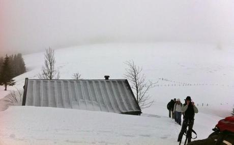 winter hiking german alps buried hut