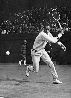 Undated and unlocated picture of US tennis player William Tilden as he plays a backhand in a championship in the 1920's. Tilden (1893-1953), one of the best players ever, won 11 Grand Slam tournaments in the men's singles. (Photo credit should read AFP/AFP/Getty Images)