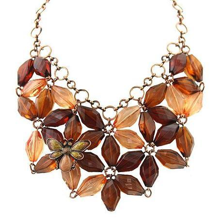 Bumble Bee Flower Beaded Brown and Orange Bib Necklace