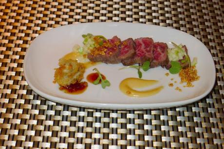 Extravaganza First Course – Wagu Spinalis Tataki, Peninsular Cocktail