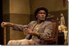 Uncle (Harold Surratt) is cautious of Jekesai's new life in the world-premiere co-production of The Convert by Danai Gurira, directed by Emily Mann.