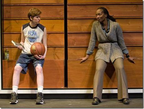 (left to right) Fiona Robert and Lily Mojekwu in Steppenwolf for Young Adults' production of fml: how Carson McCullers saved my life written by Sarah Gubbins and directed by Joanie Schultz.  Photo by Michael Brosilow.