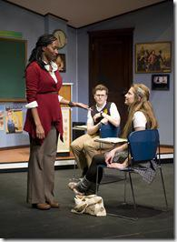 (left to right) Lily Mojekwu with Ian Daniel McLaren and Zoe Levin in Steppenwolf for Young Adults' production of fml: how Carson McCullers saved my life written by Sarah Gubbins and directed by Joanie Schultz.  Photo by Michael Brosilow.