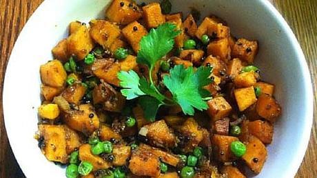Paleo Indian Vegetarian Recipe - Sweet Potato And Peas