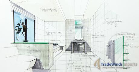sketch of a bathroom interior