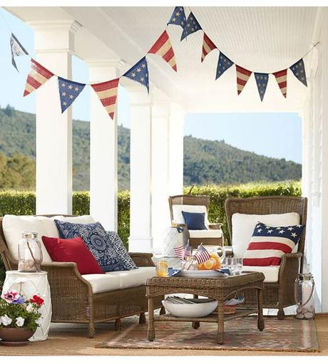 Dream Porch! Look at the details! via @Pottery Barn   Fourth of July | 4th of July | beautiful porch | vacation home | July 4th Party | July 4th Decorations: