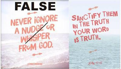 MemeHeresy: Christine Caine's nudges & whispers from God; Visual Theology: picture of unified scripture