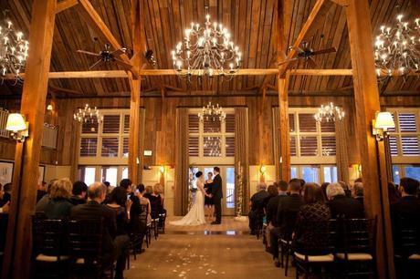 Indoor ski lodge wedding