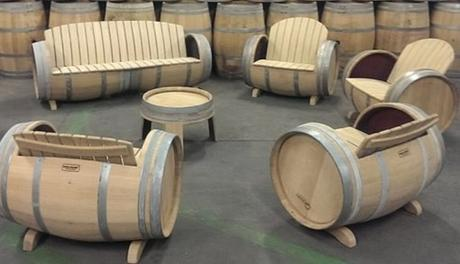Wooden Barrel Transformed Into Furniture Set