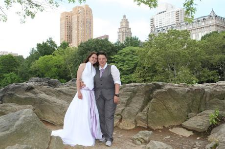 RD wedding central park buildings in  background