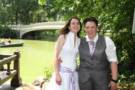 RD wedding central park by bow bridge