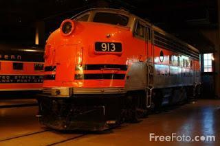 Image: Photograph of Western Pacific No. 913 EMD model F-7A diesel locomotive at the California State Railroad Museum, Old Sacramento, California (c) FreeFoto.com. Photographer: Ian Britton
