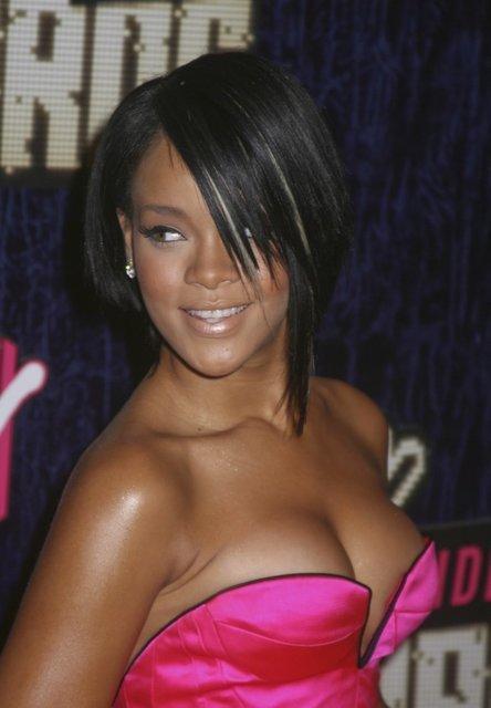 Rihanna Asymmetric Bob Hairstyle