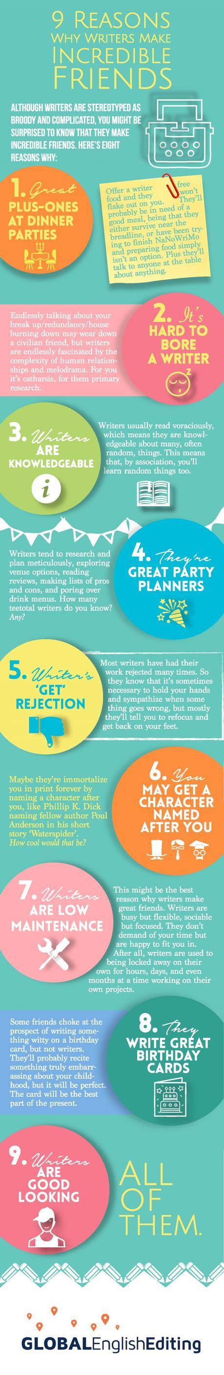 Why Writers Make Incredible Friends infographic