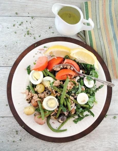 Super Easy Nicoise Salad with Kale and a Light Lemony Dressing
