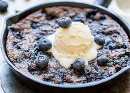 Blueberry Skillet Cookie (Gluten Free + Paleo)