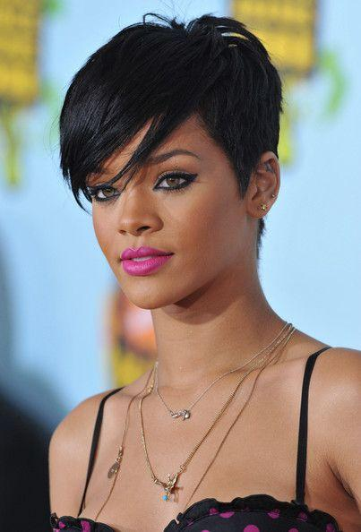 Side Swept Pixie Hairstyle Rihanna