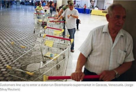 Venezuelans line up in state-run supermarket
