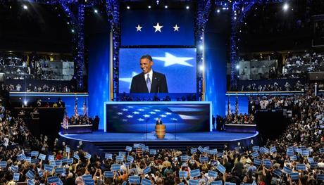 US President Barack Obama smiles as he arrives to address the final night of the Democratic National Convention at the Time Warner Cable Arena in Charlotte, North Carolina, USA, 06 September 2012. Obama accepted the nomination to run for a second term at the convention.  EPA/TANNEN MAURY