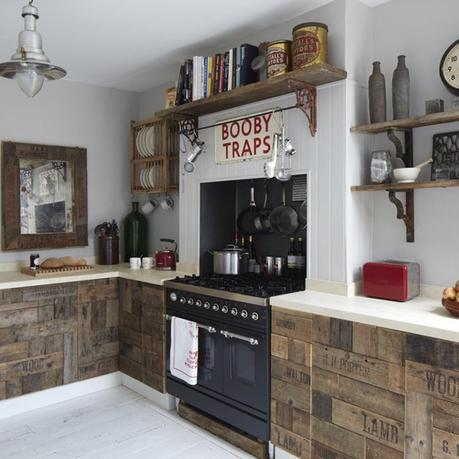 kitchen made from fruit crates