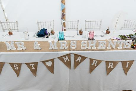 wedding details on a table