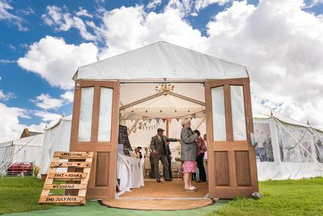 entrance to the wedding marquee