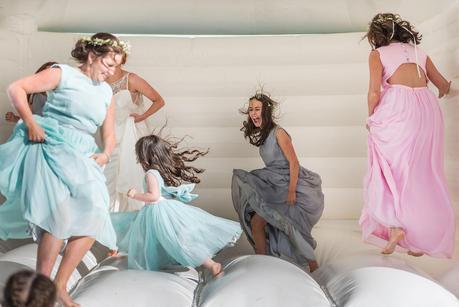 bridesmaid laughing at wedding