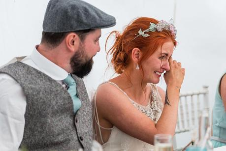 bride crying at the best mans speech