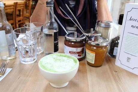 Vegan almond milk matcha at Le Pain Quotidien