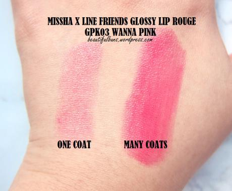 Missha Line Friends Glossy Lip Rouge Wanna Pink (3)