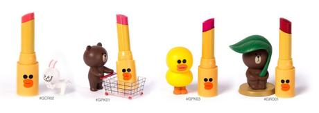 Missha Line Friends Glossy Lip Rouge Wanna Pink colours figurines