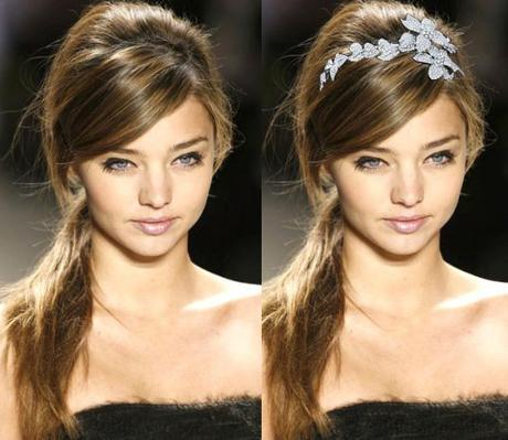 Messy side ponytail with headband