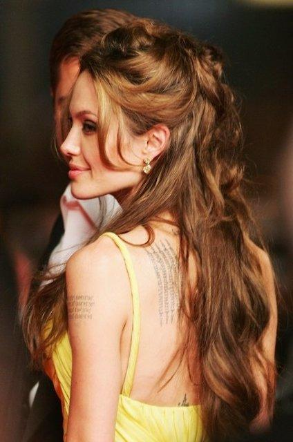 Angelina Jolie Half Up Half Down Friday Hairstyle
