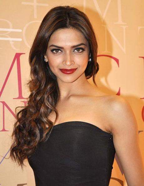 Deepika Padukone Side Swept Waves Hairstyle
