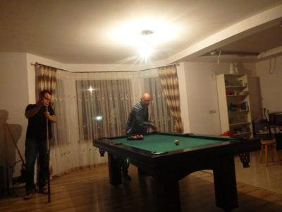 Playing pool with Jacek and Bartek