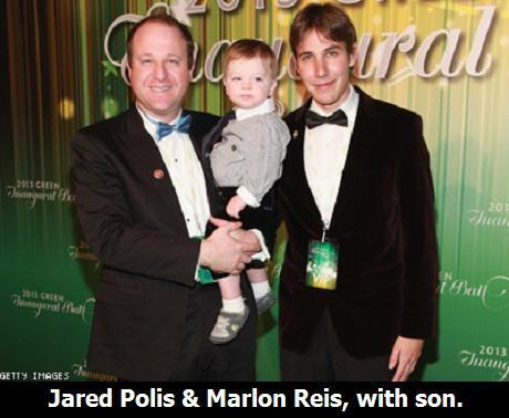 WASHINGTON, DC - JANUARY 20: Congressman Jared Schutz Polis, D-CO-02, son Caspian Julian, and partner Marlon Reis attend 2013 Green Inaugural Ball at NEWSEUM on January 20, 2013 in Washington, DC. (Photo by Taylor Hill/Getty Images)
